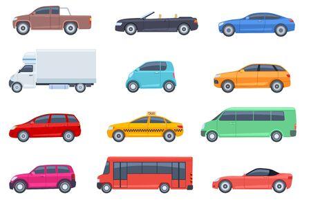 Flachwagen eingestellt. Taxi und Minivan, Cabriolet und Pickup. Bus und Geländewagen, LKW. Stadt-, Stadtautos und Fahrzeuge transportieren flache Vektorsymbole. Cabriolet und LKW, Auto und Bus, Automobil-Pickup-Abbildung Vektorgrafik