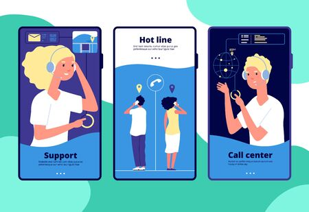 Online support concept. Customers chat operator, consultant answers client. Call center, customer service vertical vector layouts. Operator call, service support customer, help online illustration Illustration
