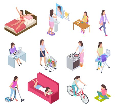 Woman daily routine. Housewife ironing and shopping, doing fitness and cooking. Female everyday lifestyle isometric vector characters. Illustration routine daily activity, girl breakfast, housework
