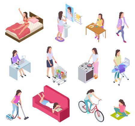 Frauenalltag. Hausfrau bügelt und shoppt, macht Fitness und kocht. Isometrische Vektorzeichen des weiblichen täglichen Lebensstils. Illustration routinemäßige tägliche Aktivität, Mädchenfrühstück, Hausarbeit