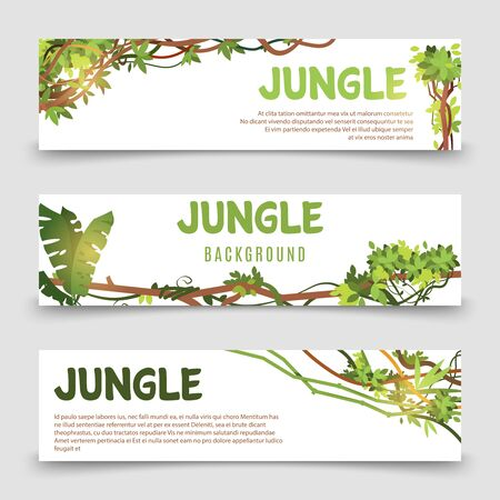 Tropical plants vector banner. Jungle leaves and lianes banner templates. Illustration jungle tropical card, botanical natural foliage Stock Illustratie