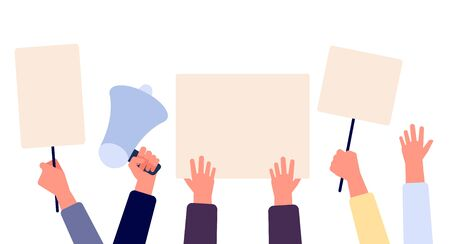Hands with blank placard. People holding protests banners, activists with empty vote signs. Election campaigning vector concept. Illustration protest with placard, political freedom struggle Фото со стока - 129671197