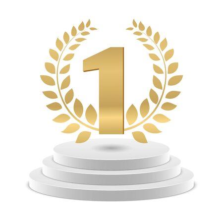 Winner podium. Vector golden number 1 and wreath. Competition winner pedestal. Golden winner podium, champion pedestal, number one illustration Archivio Fotografico - 129671202
