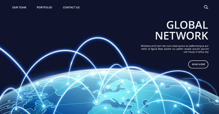Global network landing page. Internet and global connection vector background. Illustration connection network, business global online technology
