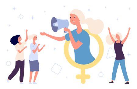 Girl power concept. Flat vector women and female gender sign. Feminism illustration. Woman gender power, sisterhood feminist 写真素材 - 129671207