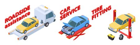 Auto service isometric. Roadside assistance, tire fitting, car repair service vector illustration. Isometric cars, tow truck, wheels. Assistance car service roadside, repair vehicle and help on road