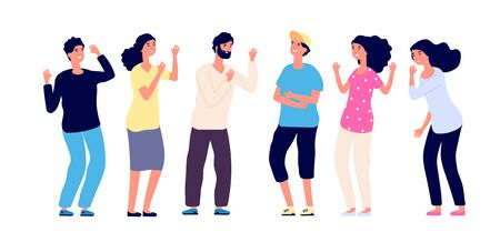 Laughing people. Happy joyful friends make fun of joke together. Smiling young guys. Positive emotion and friendship vector concept. Illustration joy friendship, people pose smile