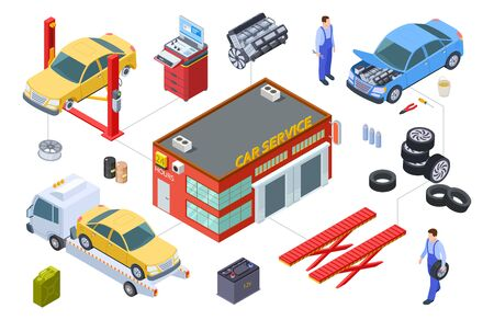Car service isometric concept. Vector venicle, tire service illustration. Cars, building, repair tools, tires. Car isometric and garage service for automobile maintenance Stock Illustratie