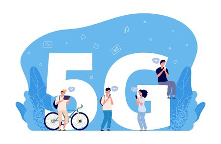 5G internet concept. Flat people characters, online conversations, internet friend searching. 5G network wireless technology for communication mobile phone. Connection internet 5g network illustration Ilustração