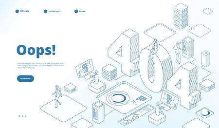 404 isometric page. Not working error, lost data or not found 404 problem, disconnection sign. Landing page vector line 3d design. Error problem 404, page web internet, network warning