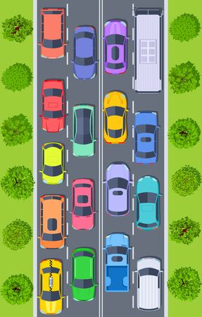 Traffic jam. Top view trucks and cars on highway road stuck in traffic. Urban transport management vector concept. Illustration highway road, traffic jam view
