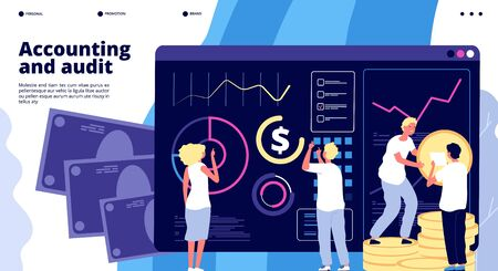 Accounting and audit. Financial management, quality tax administration. Budget and finance evaluation. Business vector landing page. Illustration administration accounting, research balance Ilustração