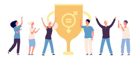 Gender equality victory. Happy flat male and female characters and winner cup illustration.