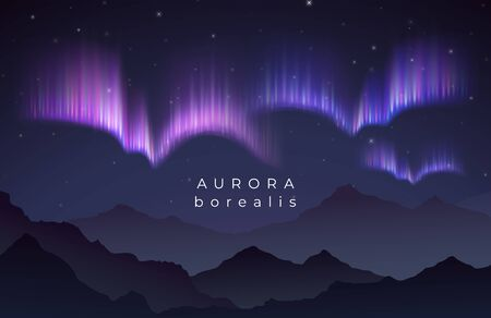 Aurora borealis vector illustration. Northern night starry sky backgroung with mountains silhouette. Northern aurora, borealis in sky night background