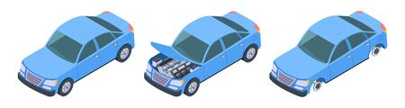Car isometric. Vector car repair illustration. Isometric blue auto upgrade. Repair auto, automobile transport service 3d