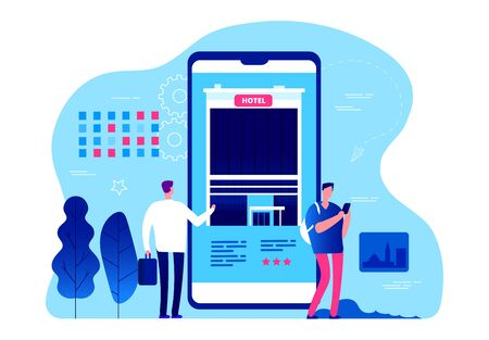 Hotel booking app. Vector tiny people are booking hotel rooms with smartphone. Business trip, vacation planning. Illustration mobile app reserve hotel, service online  イラスト・ベクター素材