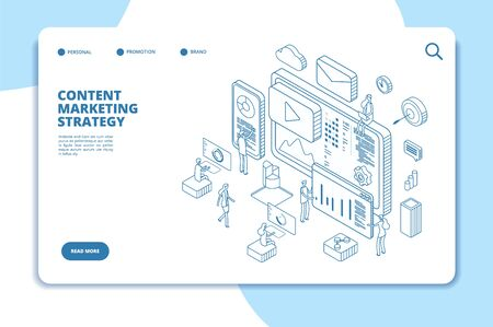 Content marketing landing page. Online contents creation specialist, video marketers and writers. B2b service line isometric concept. Vector blog media, video content service, blogging website content Stock Illustratie