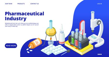 Pharmaceutical industry landing page. Isometric drugs development vector web banner. Chemical equipment, pills, vitamins. Research in laboratory equipment, medicine and pharmacy illustration