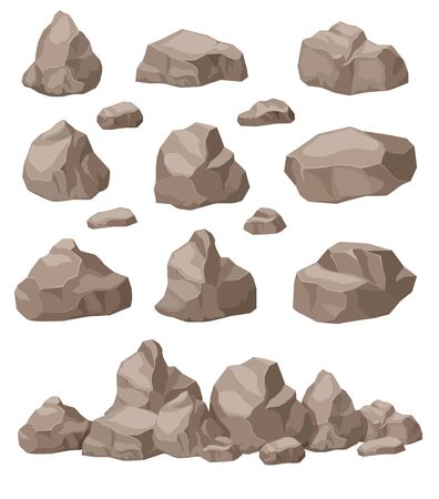 Rock stones. Cartoon stone isometric set. Granite boulders pile, natural building block materials. 3d game art isolated vector. Illustration boulder pile, mountain mineral block