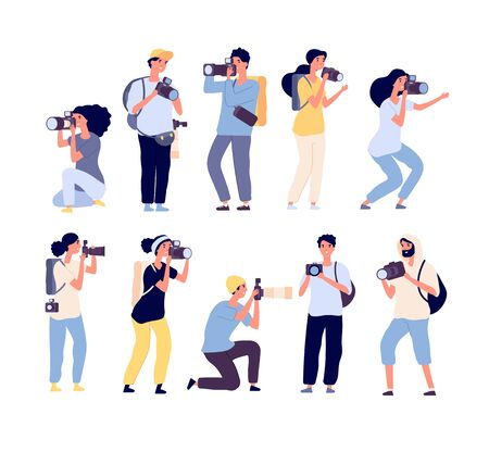 Cartoon photographers. People photograph with camera. Amateur and professional photography occupation. Isolated vector characters set. Amateur professional, camera and photographer illustration Ilustracja