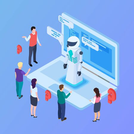 Chatbot vector concept. Isometric artificial intelligence robot with people. Robot intelligence, chat bot ai isometric, communication chatbot illustration 向量圖像