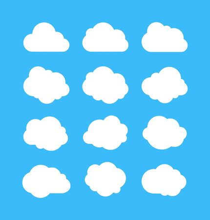 White simple clouds. Thinking bubbles, cloud message shapes. Cumulus isolated on blue background. Cartoon vector set of white cumulus clouds for message thinking illustration Illusztráció