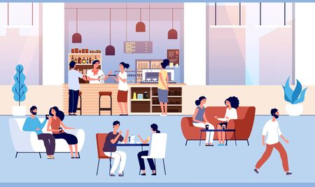 People in coffee shop. Friends drink coffee with pastry in coffeehouse. Persons meeting in cafe vector cartoon concept. Illustration coffee shop and coffeehouse, cafeteria with customers Ilustração