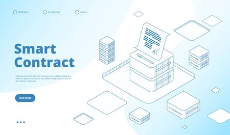 Smart contract concept. Ethereum cryptography technology. Contractor agreement with digital signature vector isometric landing page. Illustration crypto smart contract, transaction blockchain Ilustração