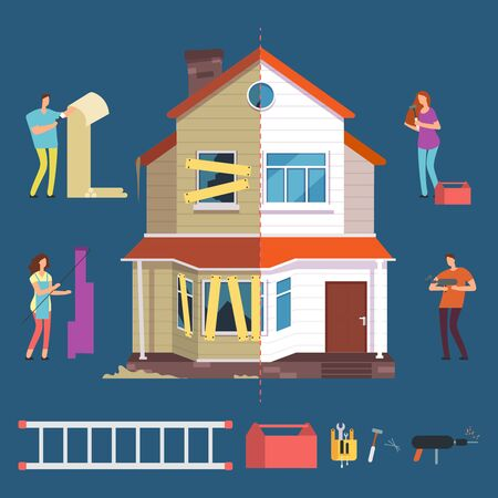 Repair and renovation house vector concept. People with tools characters. Illustration improvement and transformation, repairman and woman painter 일러스트