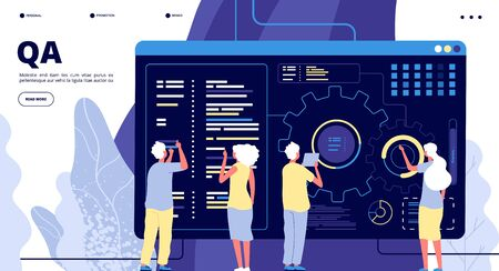 QA landing page. Testing quality assurance in software prototype. People fixing program code bugs in device. Vector concept qa and development fixing bug, software program code illustration