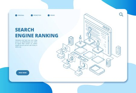 Search engine ranking landing page. Seo marketing and analytics, online ranking result. Internet strategy 3d isometric vector concept. Illustration search engine optimization page site