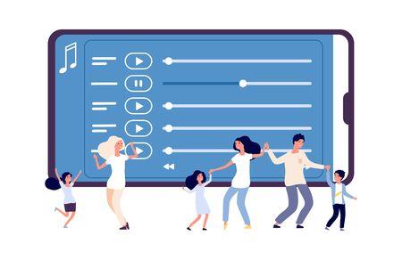 Mobile Unterhaltung. Vektorillustration der Musikanwendung und der tanzenden Leute. Online-Radio, Audio-Playlist-Konzept. Webradio, Tanzfamilie mit Kindern