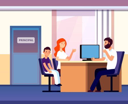 Principal office. Mom apprentice teacher meeting in school. Unhappy parent son talk angry principal director. Education vector concept. Illustration principal talking schoolboy, sitting child with mom