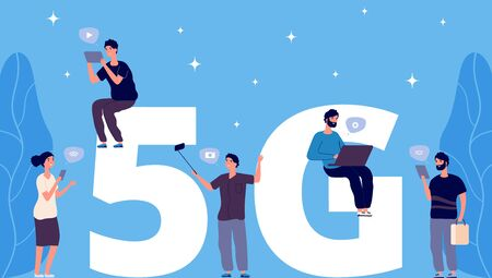 5G concept. Flat tiny people with phones and laptops vector characters. 5G wireless connection. Illustration 5g network wireless, people connection fast internet Ilustração