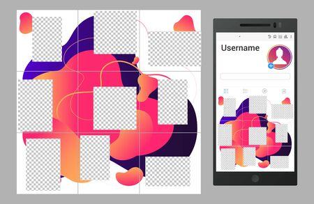Inspired vector social media collage template design. Social fashion network, banner trendy mockup illustration Çizim