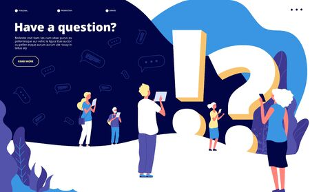 Faq landing page. People ask questions and get answers. Questioning person, problem solution abstract quiz vector concept. Faq web page, solution and ask service website illustration