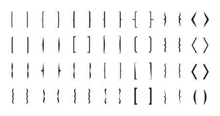 Klammervektorsymbole. Typografiesymbole mit geschweiften Klammern gesetzt. Klammer und Klammer, mathematische abgerundete Pfeildarstellung