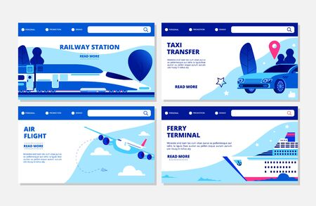 Transportation vector banners. Ferry terminal, air flight, taxi, railway station landing page collection. Illustration travel transportation, ferry terminal, air plane Banque d'images - 129671277