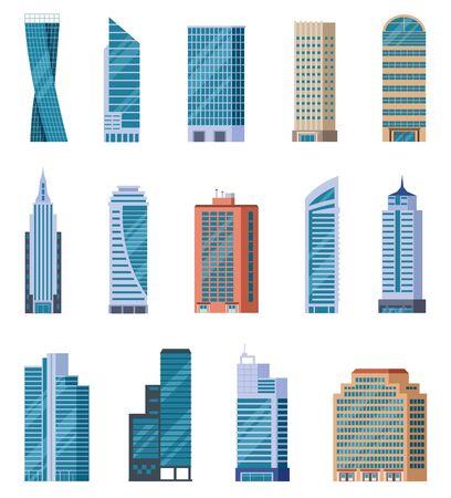 Grattacieli piatti. Esterno degli edifici della città moderna. Case per uffici residenziali e commerciali. Facciate del centro. Insieme di vettore isolato. Ufficio edificio illustrazione, grattacielo residenziale urbano
