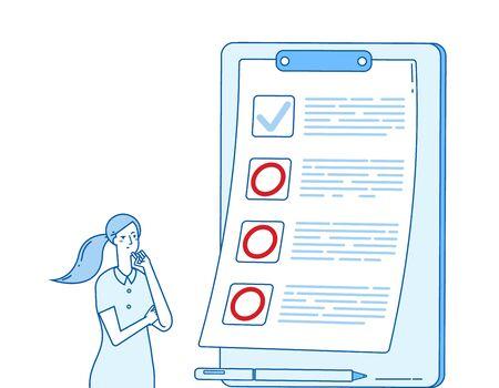 Failed to do list. Vector displeased woman and planning. Wrong fail do list, form checklist task illustration