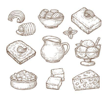Sketch dairy products. Milk fresh, cheddar cheese and farm curd buttercream vintage hand drawn culinary vector set. Milk and cheese, organic fresh sketch, farm food dairy illustration Ilustração