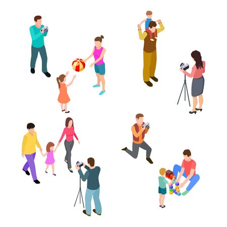 Family photo shoot. Isometric parents with children and professional photographers. Vector professional photo session illustration. Family photographer, mother father and kid