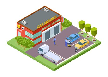 Car service location. Isometric service building, vector tow truck, tire fitting illustration. Automobile maintenance, tire change and repair Stock Illustratie