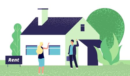 Rental concept. Young woman and real estate agent. Girl rents house vector illustration. Realtor show residential home for rental