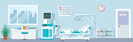 Hospital ward. Empty emergency room indoor. Intensive therapy rooms with bad, medical equipment. Vector flat interior ward, medical indoor hospital illustration