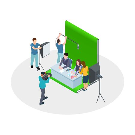 Isometric shooting TV show. Vector TV hosts, make-up artist, film crew. Show production, news channel. Tv isometric show, camera and television program illustration