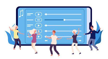 Dance perfomance concept. Flat dancers and online music playlist. Vector happy dancing people characters. Illustration web audio, mobile smartphone multimedia, entertainment media radio online Vektoros illusztráció