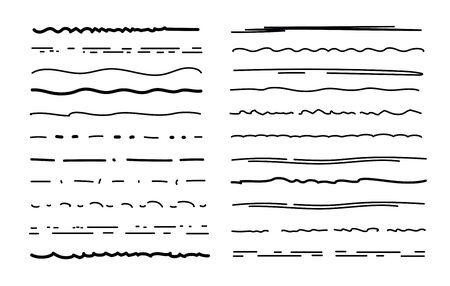 Sketch underlines. Crosshatch pen brush lines, pencil textured strokes. Scribble marker borders. Handmade chalk underline vector set. Illustration sketchy underline, highlight paint drawing pen stripe