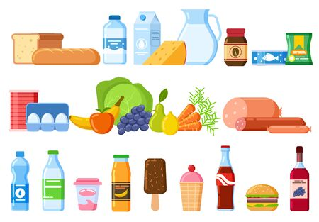 Food products. Bread and water bottles, juice and cheese. Eggs, fruit and sausages ice cream. Product and drinks flat vector icons. Illustration bread and juice, milk and cheese, water and sausage Ilustração