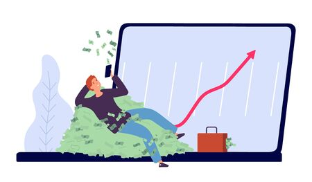 Successful investment. Man makes profit from money invested concept. Flat rich businessman character woth money and laptop vector illustration. Businessman get profit from web business, money growth Ilustrace